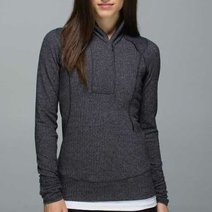 Lululemon Black Herringbone Think Fast Pullover